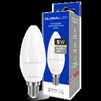 светодиодная LED лампочка свеча брэнда GLOBAL C37 CL-F 5W мягкий СВЕТ 220V E14 AP от Максус(1-GBL-133) (NEW)